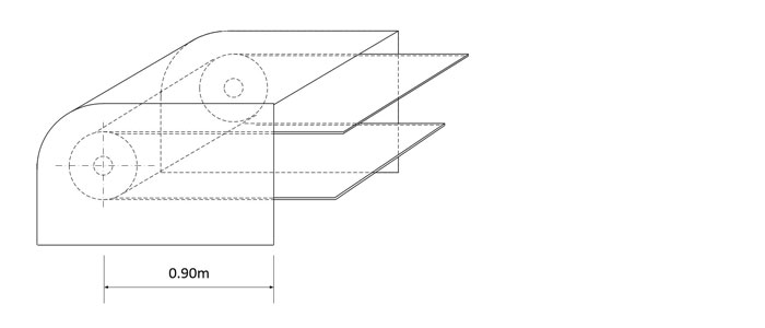 Illustration showing an example of a fixed enclosure guard (guard must extend at least 0.9 meters from the pinch point as per subsection 196.3.1 of Regulation 854).