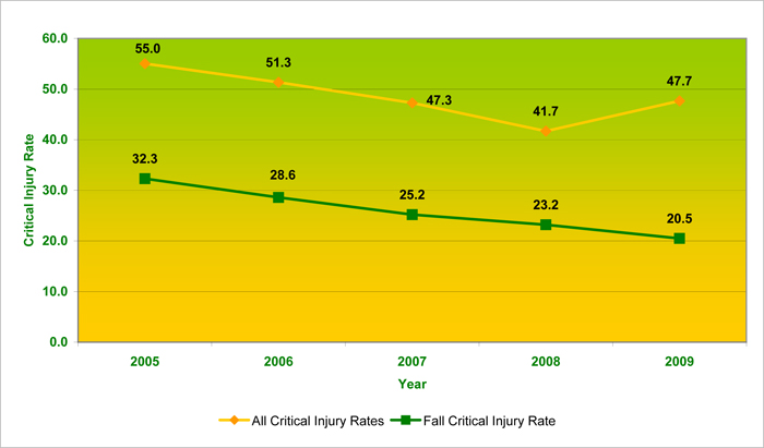 >Figure 2a: Critical Injury Rates per 100,000 workers in Ontario's Construction Industry, 2005 to 2009