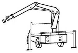 Picture of an articulating boom crane truck.