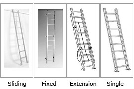 Sliding, fixed, portable (extension, single) ladders