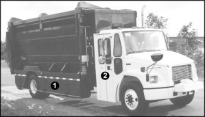 Figure 9: Photo of a multi-compartment recycling vehicle identifying specific  mechanisms (as listed)