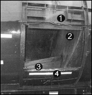 Figure 7: Close-up photo of a side-loading compacting equipment: Type II (Torpedo Design) vehicle identifying specific  mechanisms (as listed)