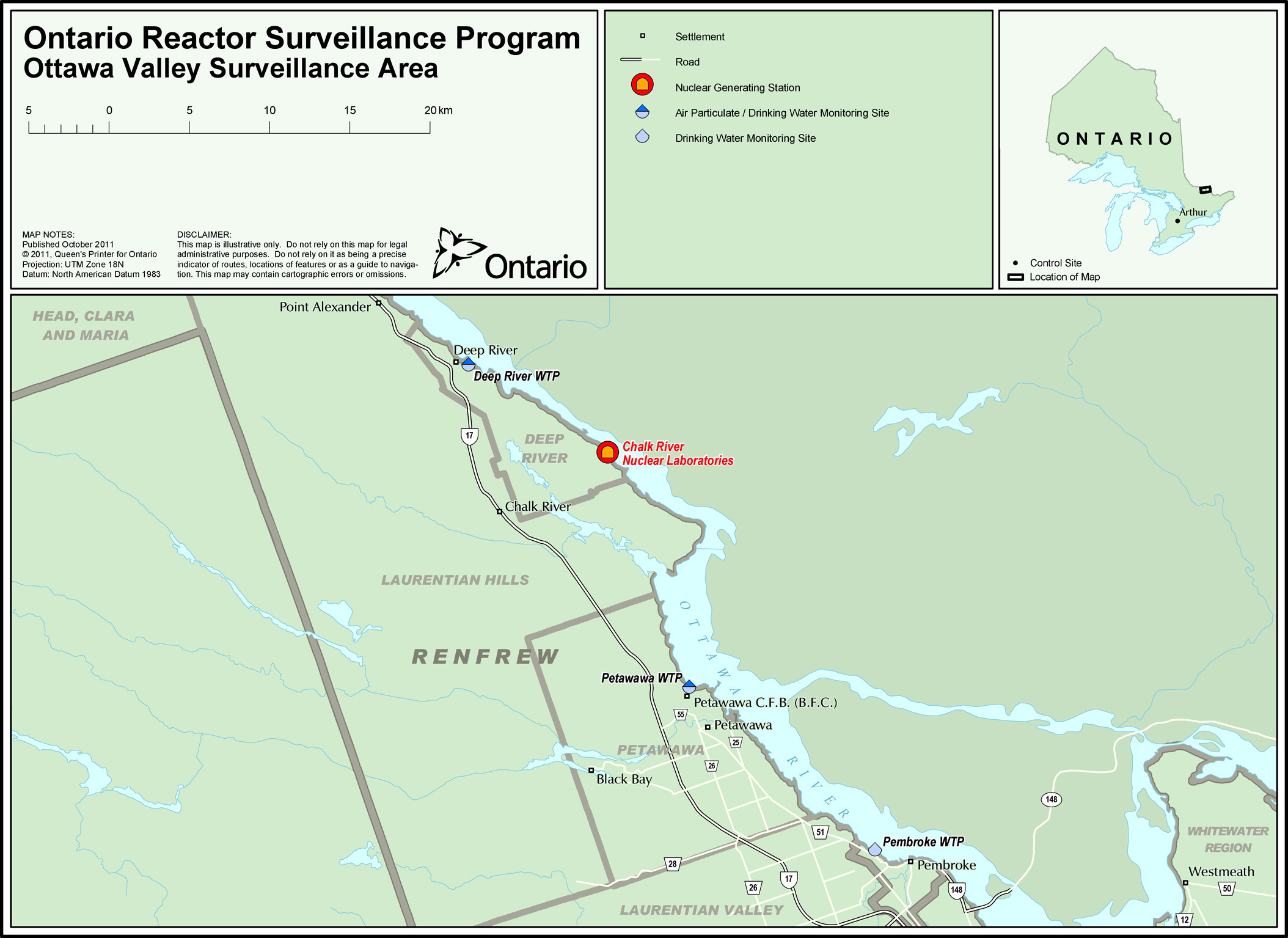 Map 5 Ottawa Valley Surveillance Area Nuclear Reactor