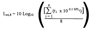 Image of the mathematical equation for determining the equivalent sound exposure level over eight hours that contains the same total energy as that generated by the actual and varying sound levels to which a worker is exposed in his or her total work day.