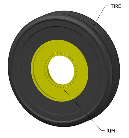 Illustration of a tire and wheel rim.